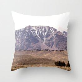 Pink snowy mountains Throw Pillow