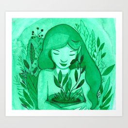mutual green love Art Print