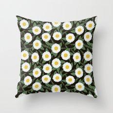 Daisies botanical floral print minimal flowers basic florals pattern charlotte winter dark Throw Pillow