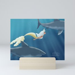 Mermaid and sharks Mini Art Print
