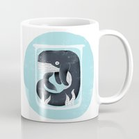 the whale Mugs featuring Whale by Rodrigo Fortes