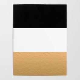 Black White Gold Color Blocks Poster