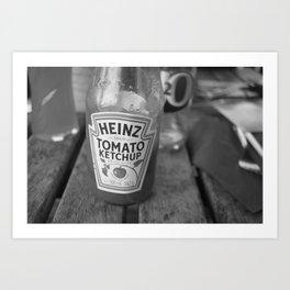 Black and white ketchup bottle Art Print