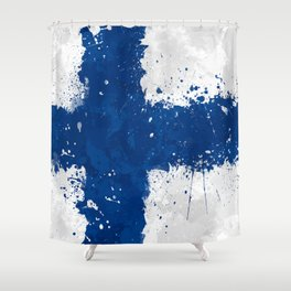 Finland Flag - Messy Action Painting Shower Curtain