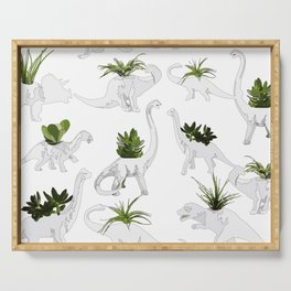 Dino and Cacti on White Serving Tray