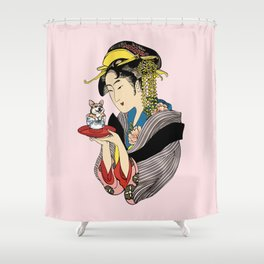 Tea Time With Corgi Shower Curtain