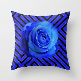 CONTEMPORARY BLUE ROSE  PATTERN ART GARDEN Throw Pillow