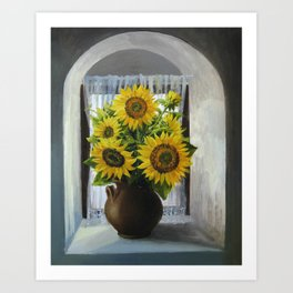 Sunflowers On The Window Art Print
