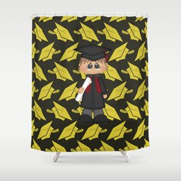 Cute Little Graduation Boy Shower Curtain