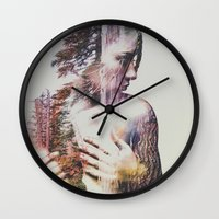 andreas preis Wall Clocks featuring Wilderness Heart #3 by Andreas Lie