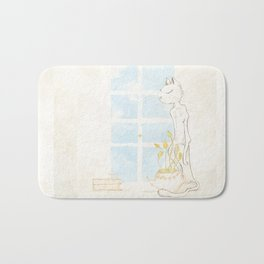 Cat Smelling Flower Bath Mat