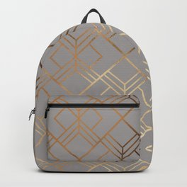 Modern elegant gray gold foil geometrical gradient Backpack