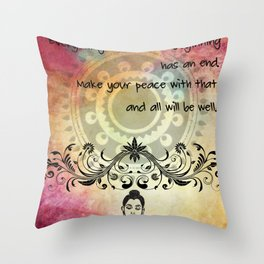Zen Art Inspirational Buddha Quotes Life Throw Pillow