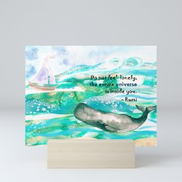 Rumi Whale Inspirational Artwork Under the sea Mini Art Print