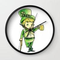 niall Wall Clocks featuring Leprechaun Niall by Drawpassionn
