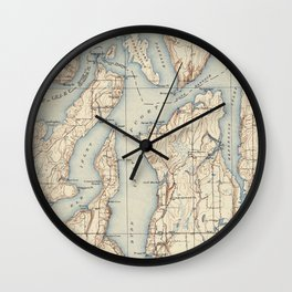 Vintage Map of The Puget Sound (1934) Wall Clock