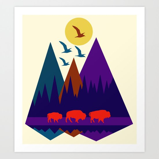 Three Bison Art Print