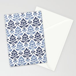 Feuille Damask Pattern Blues on Cream Stationery Cards