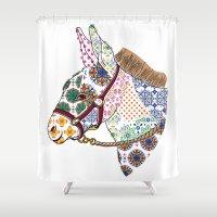 donkey Shower Curtains featuring DONKEY by Mai Kurihara