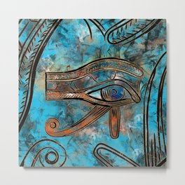 Egyptian Eye of Horus - Wadjet - Mixed Media Abstract Metal Print