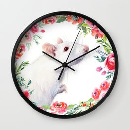 White Rat with Flowers Watercolor Floral Pattern Animal Wall Clock
