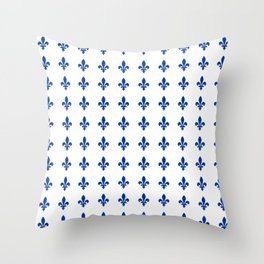 Blue Fleur De Lis Print Throw Pillow