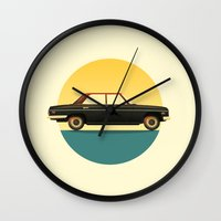 mercedes Wall Clocks featuring Mercedes 200 at Sunset by chucklehound
