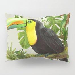 Toucans and Bromeliads (Canvas Background) Pillow Sham