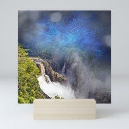 Wild waterfall in abstract Mini Art Print