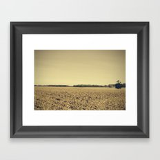 Lonely Field in Brown Framed Art Print