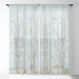 Citrus Grove Mural in Mist Sheer Curtain
