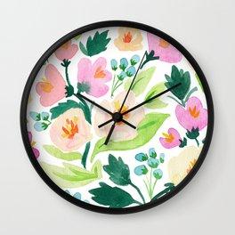 Watercolor Florals Wall Clock