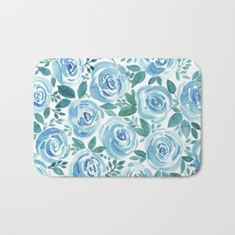 Pale blue roses . Watercolor . Bath Mat