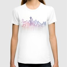 Seattle Skyline Watercolor LARGE Womens Fitted Tee White
