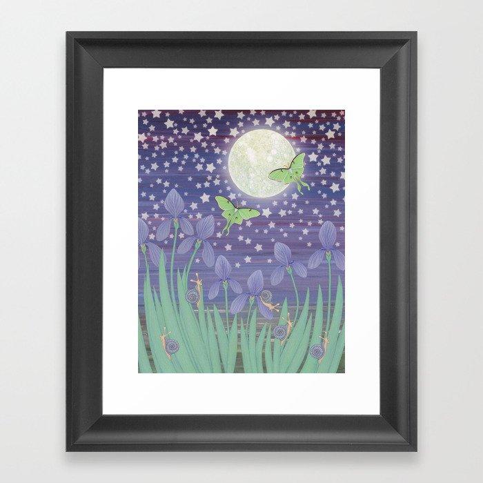 Moonlit stars, luna moths, snails, & irises Framed Art Print