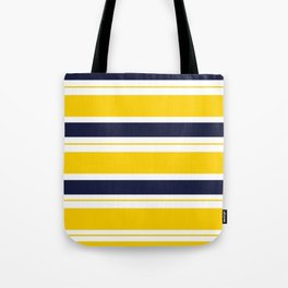 Yellow and Blue Horizontal Lines Stripes Tote Bag