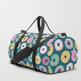Undercover donuts // turquoise background pastel colors fruit donuts Duffle Bag