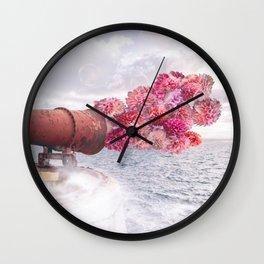 Floral Fog Horn Wall Clock