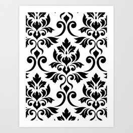 Feuille Damask Pattern Black on White Art Print