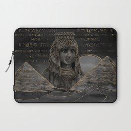 Cleopatra on Egyptian pyramids landscape Laptop Sleeve