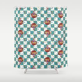 Cereal Bathing Beauty Pattern (blue) Shower Curtain