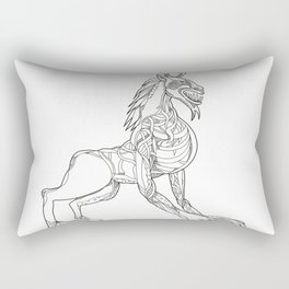 Wendigo Crouching Doodle Art Rectangular Pillow