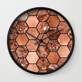 Rose gold hexaglam Wall Clock