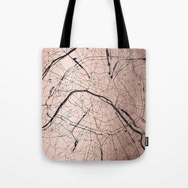 Paris France Minimal Street Map - Rose Gold Glitter on Black Tote Bag