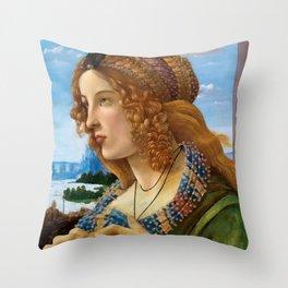 "Sandro Botticelli ""Allegorical Portrait of a Lady (Simonetta Vespucci ?)"" Throw Pillow"