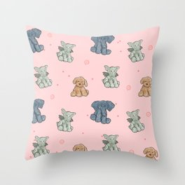 baby stuffed animal pattern pink Throw Pillow