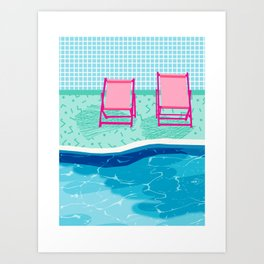 Vay-K - abstract memphis throwback poolside swim team palm springs vacation socal pool hang Art Print