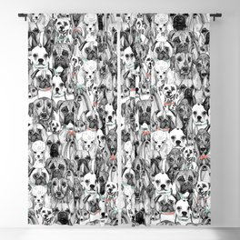 just dogs coral mint Blackout Curtain