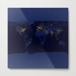 Map of The World with Lights Metal Print