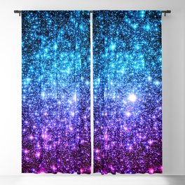 Glitter Galaxy Stars : Turquoise Blue Purple Hot Pink Ombre Blackout Curtain